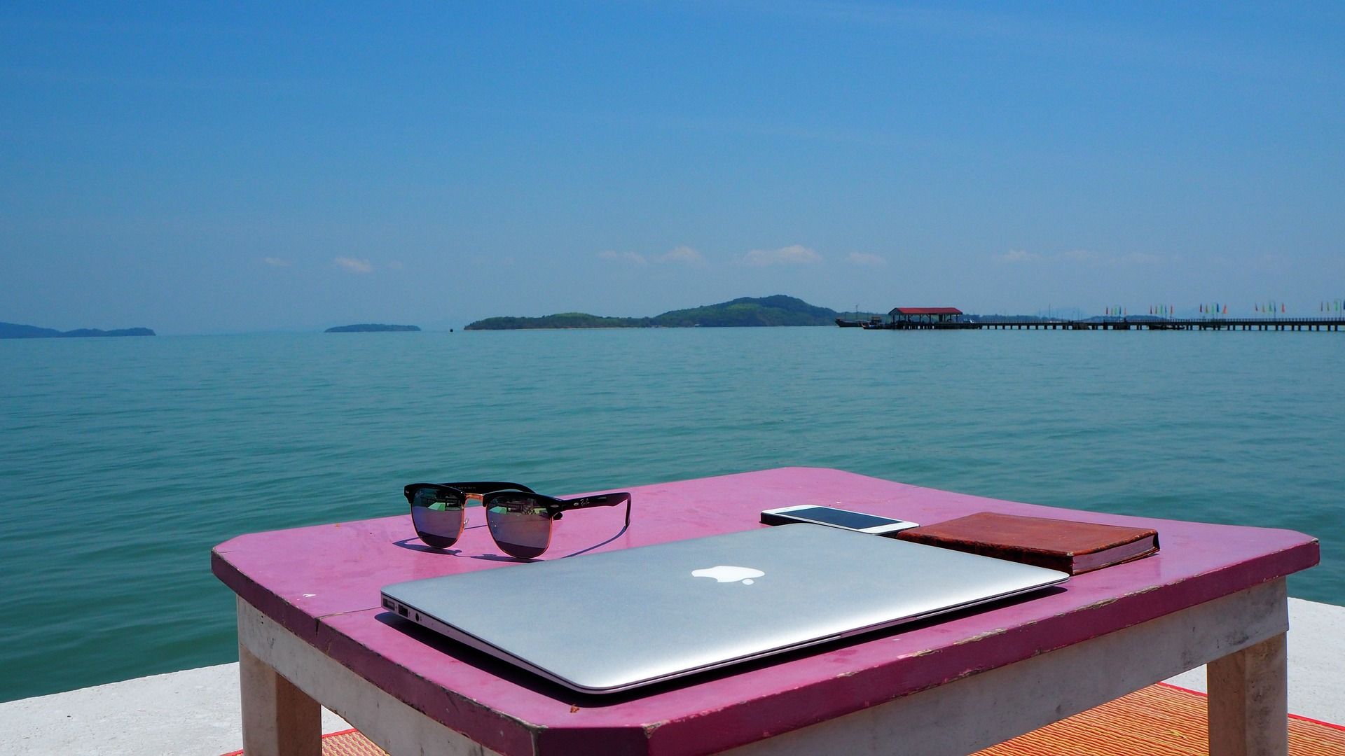 Remote workers' set up by the sea