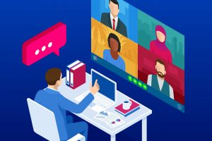 Isometric,Video,Conference.,Online,Meeting,Work,Form,Home.,Home,Office.